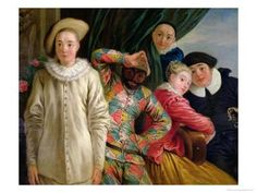 Harlequin, Pierrot and Scapin Giclee Print by Jean Antoine Watteau at Art.com