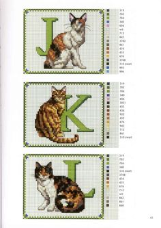 abc gatos J-L Counted Cross Stitch Patterns, Cross Stitch Charts, Cross Stitch Designs, Cross Stitch Embroidery, Cross Stitch Letters, Cross Stitch Animals, Embroidery Alphabet, Sewing Art, Cat Pattern