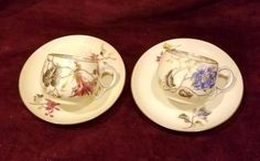 Antique Elite Limoges Bawo & Dotter 2 Demi Cups & Saucers Flowers Yellow VG #EliteBawoDotter