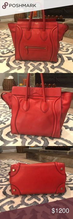 "Red Celine mini luggage bag Red pebbled leather. Celine. Gold hardware. Gently used. Measurements: 12.25"" L x 7.25"" W x 12""H Date/Authenticity Code: S-AT-0112 S-UP-011 Celine Bags Totes"