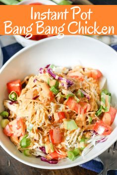 Easy Instant Pot Bang Bang Mexican Chicken Instant Pot Bang Bang Chicken comes together in minutes and is so delicious! The classic spicy sauce is perfect on shredded chicken which can be used in rice bowls, salads, wraps, or however you want! Clean Eating Recipes, Cooking Recipes, Healthy Recipes, Simple Recipes, Vegetarian Recipes, Asian Recipes, Yummy Recipes, Protein Recipes, Eating Healthy