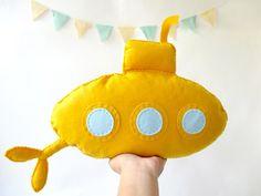 "Stuffed toy ""Yellow submarine"", Felt submarine, Nursery decor, Baby nursery decor, Kids art, Kids room decor, on Etsy, $29.00"