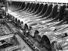 Source:  Boeing Archives/ The American Aircraft Factory in World War II  Crowded cheek by jowl in Shop 308 at Boeing's Plant 2 in Seattle, these aft fuselage/tail sections would all be gone within a week, having been incorporated into B-17 Flying Fortresses.