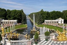 Peterhof Palace Garden: in ST. Petersburg has multiple fountains and formal gardens and is modeled after Versailles.