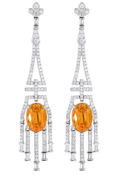 Earrings with 7.42 cts. t.w. spessartite and 1.28 cts. t.w. diamonds, price on request; Spark