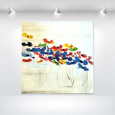 Huge Abstract Painting acrylic Painting 48 x 48 Original  Colorful modern Poppies flower painting Painting Wall Art - pinned by pin4etsy.com