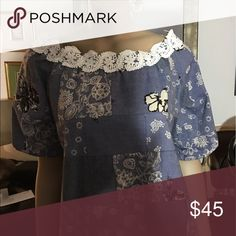 Patchwork  denim blouse Exclusive designer denim and French gipiur martha Ibanez Tops Blouses