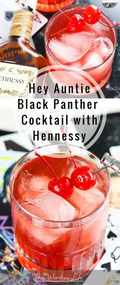 Hey Auntie Black Panther cocktail with Hennessy + Red Velvet Cake is smooth Hennessy Cocktails, Fun Cocktails, Cocktail Drinks, Cocktail Recipes, Margarita Recipes, Alcohol Drink Recipes, Bebe