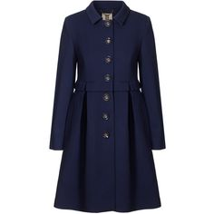 Orla Kiely Pique Wool Coat (1.065 BRL) ❤ liked on Polyvore featuring outerwear, coats, jackets, coats & jackets, tops, ink, wool coats, blue coat, pleated wool coat and long sleeve coat
