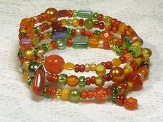 Cynthia Lynn FIESTA Multicolor Glass Bead by CynthiaLynnJewelry Amber Jewelry, Beaded Jewelry, Beaded Bracelets, Wrap Bracelets, Necklaces, Memory Wire Jewelry, Memory Wire Bracelets, Bead Crafts, Jewelry Crafts