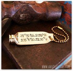 Longitude Latitude Bullet Key Ring .308 Brass by AnvilDesigns