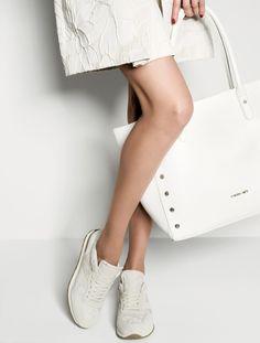 TWIN-SET Simona Barbieri: Floral jacquard skirt , studded bag and lace running shoes