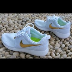 Custom Roshe Run White/Gold A unique unisex shoe looks great on both men and women... Most sizes in stock Nike Shoes Athletic Shoes