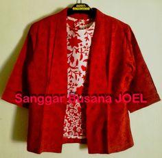 Semi Blazer Batik Embos Merah (Variasi Inner Merah...