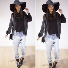 #stealthelook #look #looks #streetstyle #streetchic #moda #fashion #style #estilo #chapelao #bllusa #transparente #calça #boyfriend #jeans #boots #cutout