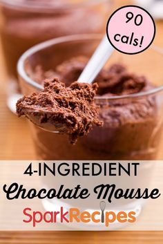 This is the EASIEST chocolate mousse recipe I've ever tried! It was just what I needed. I think I'm going to try freezing individual servings for a colder dessert! | via @SparkPeople #ValentinesDay #chocolate #dessert
