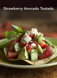 Strawberry Avocado Tostada - gorgeous!   #spon @castrawberries