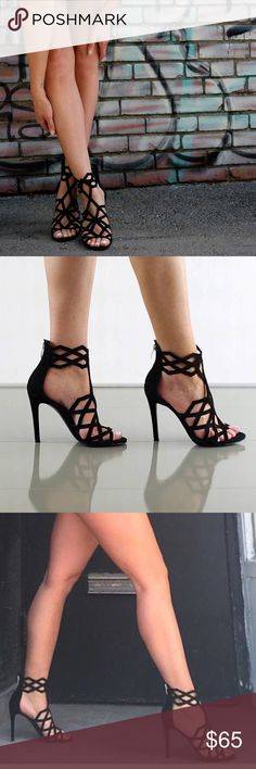 Sultry, Edgy & Elegant Strappy Stiletto Sandals. Material: Suede. Sole: Synthetic.  - Heel Height: 4.5 in.  - Platform: 0.5 in. - Open Toe. - Rear Zipper Closure.  - Strappy Cutout Vamp - Smooth Outsole. - Synthetic Lining.   No holds/PP/Trades/Merc.  Bundle to save 10%.   Priced the lowest you'll find online. KENDALL + KYLIE Shoes Heels