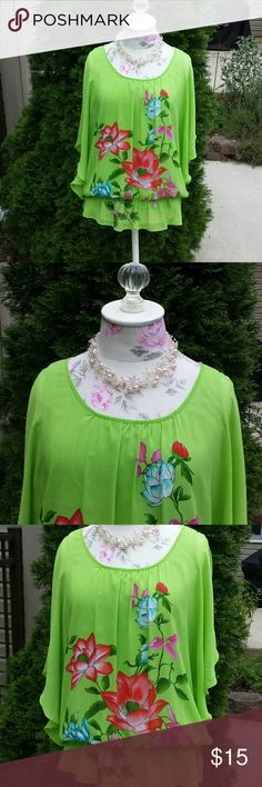 Colorful Blouson Cold Shoulder Top Bright Colors of Kiwi Green, Magenta and Cornflower Blue make this blouson top a standout. Size Large will fit size 14-16.  Has two small pulls shown in last two pics but they're  barely noticeable because of the bold flowers. 🌷🌻🌼 Zac & Rachel Tops Blouses