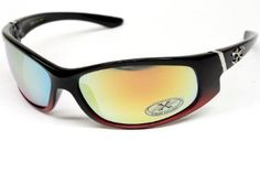 Xloop Sports Wrap Sunglasses Mens Womens Cycling Running X314 (black-red, mirrored) Xloop. $5.95