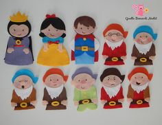 Snow White and the 7 dwarves finger puppets Felt Puppets, Felt Finger Puppets, Hand Puppets, Felt Crafts, Crafts To Make, Crafts For Kids, Felt Dolls, Paper Dolls, Felt Stories
