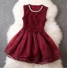 Wine Red Lace Dress MH010KJ
