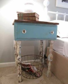 Dresser drawer and leg spindles repurposed into bedside nightstand