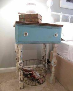 Dresser drawer and leg spindles repurposed into bedside nightstand #repurposedfurniturenightstand