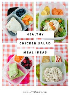 5 Healthy School and Office Lunches using Chicken Salad: Keep lunch interesting all week long with 5 fresh ways to use chicken salad in your lunchbox. Healthy Wraps, Healthy Recipes, Lunch Recipes, Real Food Recipes, Cooking Recipes, Healthy Options, Dinner Recipes, Chicken Salad Recipes, Healthy Chicken