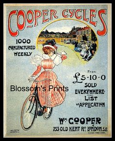 Cooper Cycles advertising Wm Cooper, London by Blossomsvintageprint on Etsy