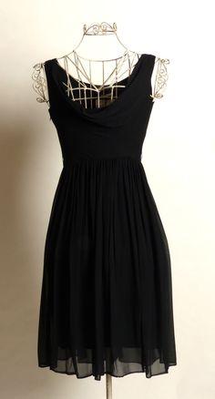 Circa 1950s Suzy Perette Silk Chiffon Black Dress