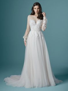 If youre planning a fall or winter wedding a long-sleeve wedding dress not only keeps you warm it sets the style for your day! Maggie Sottero Wedding Dresses, Dream Wedding Dresses, Designer Wedding Dresses, Wedding Gowns, Wedding Bells, Lace Wedding, Crochet Wedding Dresses, Wedding Outfits, Wedding Ceremony