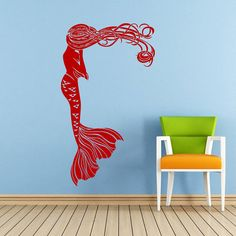 Mermaid Wall Decal Water Nymph Nature Fish Hair Beauty Sea Animal Wall Decals Vinyl Sticker Interior Home Decor Art Bedroom Mural SV5959