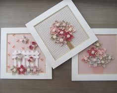 Trio de Quadros Coral e Beje Diy Craft Projects, Decor Crafts, Diy And Crafts, Felt Flowers, Fabric Flowers, Diy Y Manualidades, Decoupage Vintage, Pretty Box, Frame Crafts