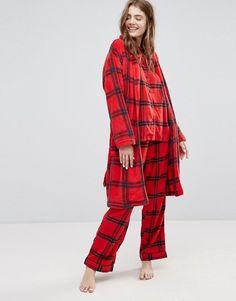 Monki Check Fleece Robe