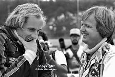 For the 1977 World Sports Car Championship round at Watkins Glen, Hans Stuck (left) and Ronnie Peterson were entered in a pair of BMW 320i machines for different teams. Both had full-time Formula 1 rides - Stuck with Brabham, and Peterson in the 6-wheel Tyrrell - but this was an era when F1 drivers made occasional appearances in other series.