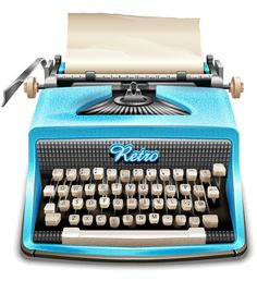 Illustrator retro and vintage tutorial on how to create a turquoise colored type writer.