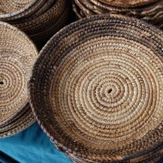 Sardinia - handmade baskets, I remember my grandmother had so many of these...where we kept the bread...