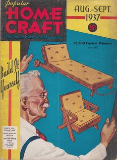See Gramps work! August September 1937 Popular Home Craft Magazine DIY Home Workshop by QuinsippiMercantile.