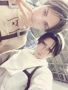 KANAME☆ as Eren and REIKA as Rivaille. Shingeki no Kyojin cosplay ♥♥