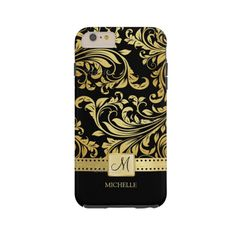 Elegant Black & Gold Damask Iphone 6 Plus Case