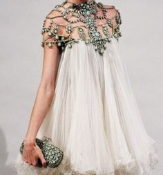Beaded/Embellished Collar/Shoulder, Draping Fabric.
