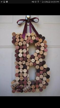 Whimsical Wine Cork Monogram Custom Letter There by kindersquare - Diy Crafts for The Home Wine Craft, Wine Cork Crafts, Wine Bottle Crafts, Crafts With Corks, Champagne Cork Crafts, Home Crafts, Crafts To Make, Diy Crafts, Wooden Crafts