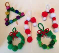 Pom pom candy canes, Christmas wreaths and Christmas trees Christmas Crafts For Gifts, Kids Christmas, Craft Gifts, Christmas Wreaths, Crafts For Kids, Christmas Decorations, Xmas, Christmas Ornaments, Holiday Decor