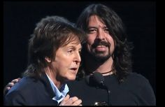 Paul with Dave Grohl of Nirvana, 2014 Grammys