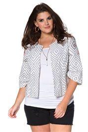Plus Size Textured Pattern Beaded Jacket