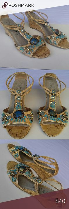 """New York Transit Beaded Cork Wedge Sandals Excellent condition. Heel height 2.5"""" New York Transit  Shoes Wedges"""