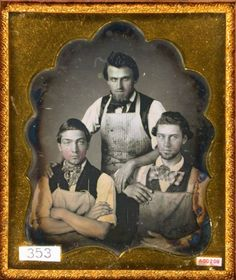 ca. 1850's, [daguerreotype portrait of three shop workers wearing aprons]  via the Daguerreian Society, Matthew R. Isenburg Collection