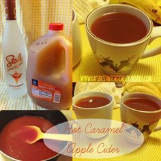 4 Cups Apple Cider 1 Cup Caramel Vodka 1 Tbs Cinnamon 1/4 Cup Brown Sugar. 1. Mix all above ingredients in large pot. 2. Heat over medium-low heat, stirring frequently, just until sugar is thoroughly mixed (be sure not to bring it to a boil or the alcohol could burn off)