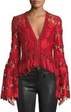 Alexis Vinton V-Neck Floral Lace Long-Sleeve Top - ShopStyle Women Lace Tops, Floral Lace, Bell Sleeves, Lace Sleeves, Long Sleeve Tops, Clothes For Women, Womens Fashion, Fashion Design, Neiman Marcus